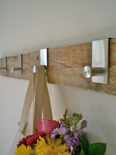 "36""L with 4 hooks // Salvaged Barn Wood Hanging Rack // Modern Stainless Steel Hooks"