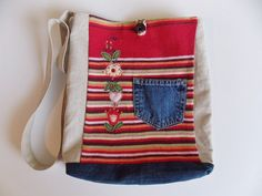Upcycle Tote stripes and denim by handmadebyvistra on Etsy, $25.00