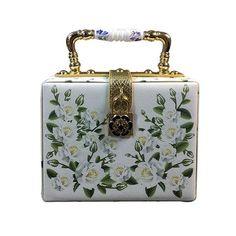White Rose flower print Bag with lock Elegant women ceramic handle evening handbag