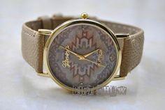 Light Brown Leather Bracelet , Golden Watch, Vintage Style Leather Watch, Women Watches, Unisex Watch, Boyfriend Watch L-025 on Etsy, $6.99