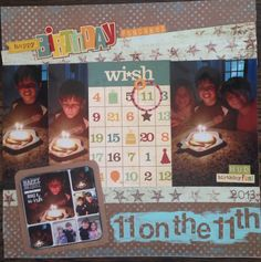 11 on the 11th scrapbook layout