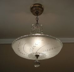 Vintage 1940 S Soft White Pressed Gl Antique Ceiling Light Fixture Chandelier Rewired Bedroom Fixtures