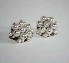 Vintage Pearl Bead Cluster Earrings  Japan by TempleKatVIntage, $6.00