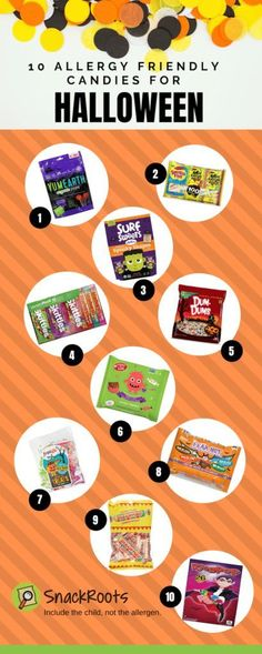 Want to be sure you're buying allergy friendly Halloween candy and class party goodies? Here are the lists you need! Healthy Halloween Snacks, Healthy Snacks, Kids Allergies, Halloween Candy, Halloween Costumes, Safe Food, Fall Recipes, Tree Nuts, Toddlers