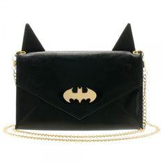Dc Comics Batman Logo Envelope Wallet With Ears & Chain Hand Bag Clutch Purse