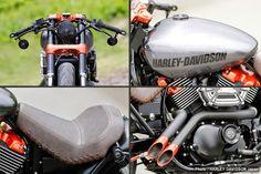 Racing Cafè: Harley-Davidson Street 750 Custom 2014 by Harley-Davidson Harley Street 750, Harley Davidson Street 500, Harley Davidson Fat Bob, Harley Davidson Pictures, Custom Sportster, Custom Bobber, Custom Harleys, Modern Cafe Racer, Street Motorcycles
