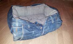 Repurposed Jeans cat bed