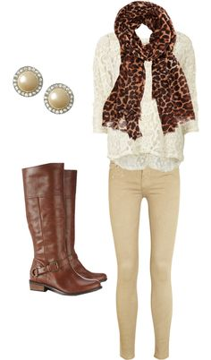 neutral khaki skinny pants, lacy white quarter length blouse, leopard scarf, pearl earrings, brown boots - fall / winter