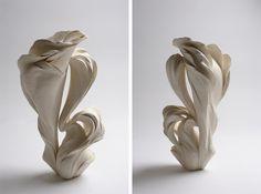 Fujikasa Satoko, Plant Growth, 2014, stoneware with white slip glaze, 14 1/2 x 7 5/8 x 6 3/8 inches