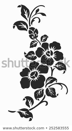 Find Flower Design Elements Vector stock images in HD and millions of other royalty-free stock photos, illustrations and vectors in the Shutterstock collection. Thousands of new, high-quality pictures added every day. Stencil Patterns, Stencil Art, Stencil Designs, Flower Stencils, Stenciling, Flower Patterns, Flower Designs, Fabric Paint Designs, Silhouette Images