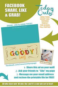 FREE Fall Goody Bag Printables