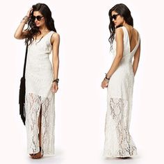 Floral White Lace Dress No Rips, Stains   No Trades Forever 21 Dresses