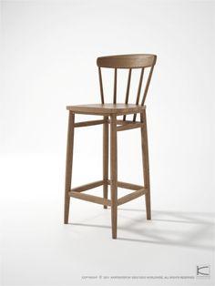 The Twist counter stool is a modern recreation of middle century Scandinavian designs with a hint of Zen minimalism.  www.karpenter.com #karpenter #furniture #twist #stool #barstool #counterstool #solidwood #reclaimedteak
