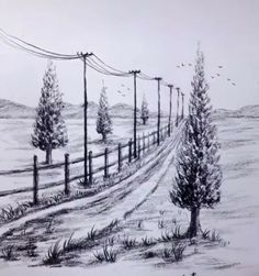 easy drawings landscape drawing pencil