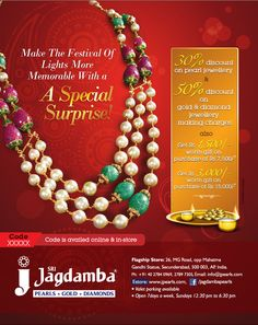On the occasion of Diwali, jPearls presents its Diwali collection, an assortment of the finest jewelry along with all the accessories for a perfect festival celebration.