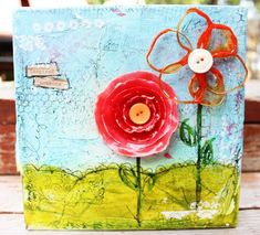 Trendy how to paint flowers on canvas mixed media 47 Ideas Mixed Media Canvas, Mixed Media Art, Mix Media, Altered Canvas, Pretty Pictures, Pretty Pics, Flower Canvas, Collage Art, Collages