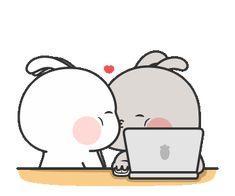 Nuomi Rabbit 4 Cute Bunny Cartoon, Cute Couple Cartoon, Cute Kawaii Animals, Cute Cartoon Pictures, Cute Love Pictures, Cute Bear Drawings, Cute Cartoon Drawings, Cartoon Gifs, Cute Cartoon Wallpapers