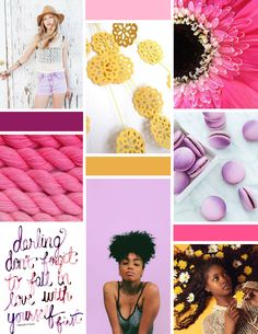 Bright and cheerful board for a young, fun brand for a small ecommerce biz ran by a total girl boss. Bright, light, flowers, strong and beautiful gals go perfectly with this brand that sells handmade crochet bralettes and other crochet apparel. Dandelion Gold yellow, lavendar, soft baby pink, deep violet, and hot pink brand board. What words come to mind? #branding #moodboard #girlboss #girlgang #design #designinspiration