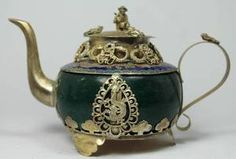 CHINESE HANDWORK DRAGON PHOENIX OLD JADE TEA POT