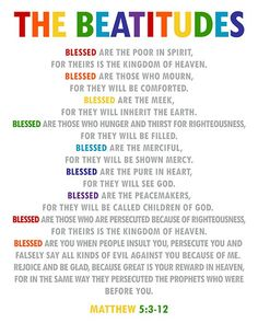 The Beatitudes. Christian Wall Art. Sunday School Decor. Matthew 5:3-12. Christian Decor. Church Wal