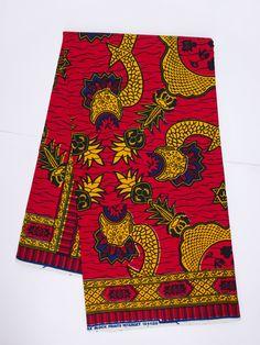 e79bb7dadaa035 Exotic print fabric African fabric by the Yard Ankara fabric by the yard red  yellow African print fabric wax print fabric cotton african wax