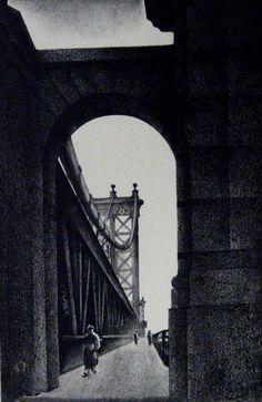 """""""Manhattan Bridge""""  Lithograph, 1934  12 7/8 in. x 8 1/4 in. (327 mm x 210 mm)"""