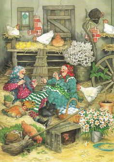 New single postcard by Inge Löök, old ladies, Easter | Collectibles, Postcards, Art | eBay!