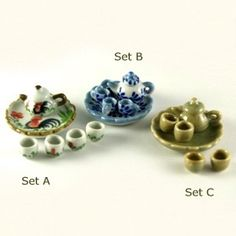 Smallest Miniature Teapot Set.  i have 2 sets of theses and they are teeny.
