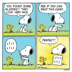 Snoopy gives an eye exam to Woodstock.