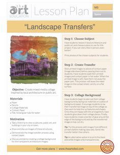 Landscape Transfers: Free Lesson Plan Download - The Art of Ed