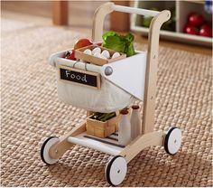 Wooden Shopping Cart #pbkids http://www.potterybarnkids.com/products/wooden-shopping-cart/