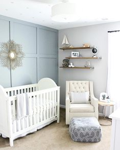 45 Gorgeous Gender Neutral Baby Nursery Ideas - New Site - Unisex Nursery Gender Neutral Nursery Baby Room Themes, Baby Boy Rooms, Baby Room Decor, Baby Boy Nurseries, Nursery Themes, Nursery Room, Blue Nursery Ideas, Unisex Nursery Ideas, Blue Nursery Girl