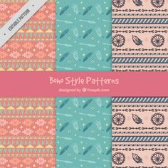 Lovely boho style patterns Free Vector