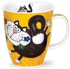 Dunoon - Fine Bone China Mugs - Nevis Shape : Kitty Cats Yellow China Art, China Mugs, Stars Disney, Fancy Cats, Cute Cups, Yellow Cat, Cat Mug, Hand Painted Ceramics, Cat Drawing