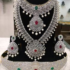 Excellent AD Jewelleries To Wear When You Are Bored Of Antique Designs American Diamond Jewellery, Diamond Jewelry, Diamond Choker, Gold Jewellery, Silver Jewelry, Silver Rings, Jewelry Design Earrings, Jewelry Sets, Jewellery Designs