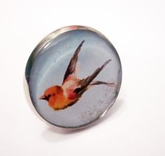 Tangerine Bird Resin Silver Ring by MyBlossomCouture on Etsy, $12.00