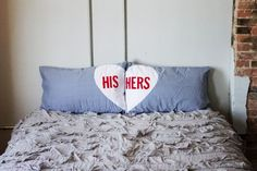 DIY: his and her pillow cases