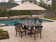 Royal Terrace Excelsior Dining boasts clean, transitional styling and flawless design making a distinctive difference in your outdoor space!  http://www.chairking.com/outdoor-patio-furniture/cast-aluminum-patio-furniture/excelsior