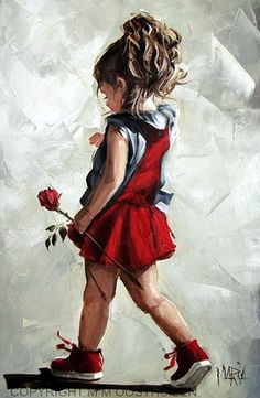 Oosthuizen, Maria (b,1972)- Girl Carrying Flower