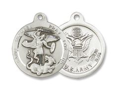 "Sterling Silver St. Michael the Archangel the Archangel Military Medal Armed Forces Us Army with 24"" Stainless Silver Chain in Gift Box. Catholic Saint Michael the Archangel Patron Saint of Battle, Emt's, Mariners, Sailors, Seafarers, Paratroopers, Radiologists, Airborne, Grocers, Paratroopers, Police Officers, Death, Policemen, Military. BM001 http://www.amazon.com/dp/B003AOQDUE/ref=cm_sw_r_pi_dp_dYU8vb1BX57WD"