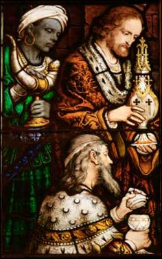 Adoration of the Magi (detail), stained glass