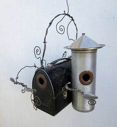 Bird houses made from a vintage lunch box and thermos. Unique.