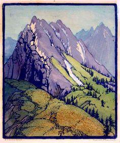 Frances Hammell Gearhart - A Sierra Spur, Colour Woodcut Mountain Illustration, Graphic Illustration, Graphic Art, Watercolor Landscape, Landscape Art, Landscape Paintings, Mountain Images, 2d Art, Mountain Landscape