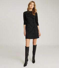 Maevie Black Sleeveless Tuxedo Mini Dress – REISS Blazer Dress, Dress Suits, Classic Tuxedo, Iconic Dresses, Tuxedo Jacket, Dress Collection, Trendy Outfits, Women Wear, Clothes For Women