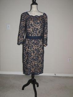 • Tadashi Shoji Lace Navy Blue Sheath Formal Dress Sz12, NEW • #TadashiShoji #Sheath #Formal