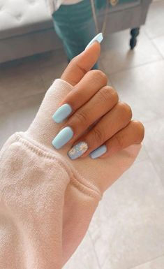91 simple short acrylic summer nails designs for 2019 page 13 Nageldesign Nail Art Nagellack Nail Polish Nailart Nails Simple Acrylic Nails, Blue Acrylic Nails, Pastel Nails, Acrylic Nails Coffin Short, Pink Coffin, Colorful Nails, Acrylic Nail Art, Blue Nails Art, Short Square Acrylic Nails