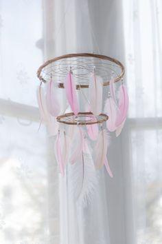 Dream Catcher Chandelier Mobile - Pink White Blush Dream Catcher Chandelier Mobile Boho Baby Mobile Tribal Crib Nursery Baby Girl Baby boy