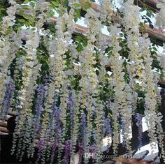 1.75 yards long each. Romantic Artificial Flowers Simulation Wisteria Vine  Wedding Decorations Long Short Silk Plant Bouquet Room Office Garden Bridal Accessories (1.18 x 100 = 118)