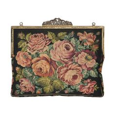 Preowned Jolles Original Micro Micro Needlepoint Tapertry Of Roses... ($685) ❤ liked on Polyvore featuring bags, handbags, clutches, purses, brown, rose handbag, piping bag, rose purse, rosette handbag and pre owned handbags
