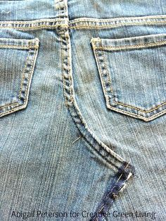 Learn how to turn an old pair of jeans into an adorable skirt! This same technique works for girls or women of any size.